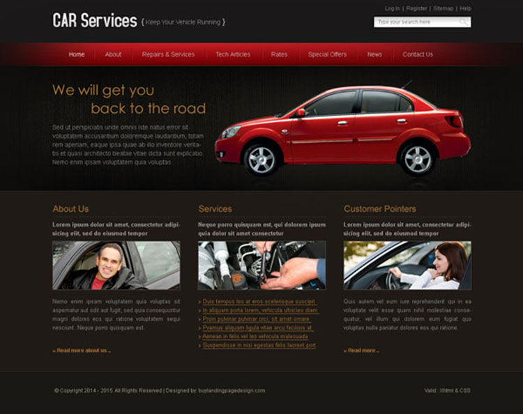 car service easy to edit website template design psd