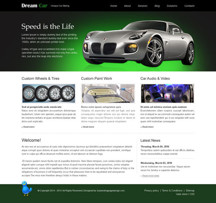 dream car attractive and appealing website template design psd