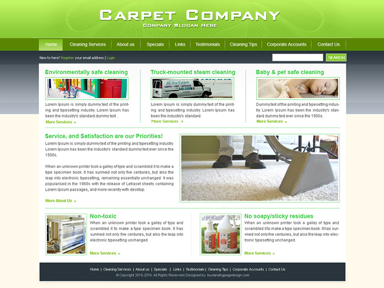 carpet cleaning company website template design psd for sale