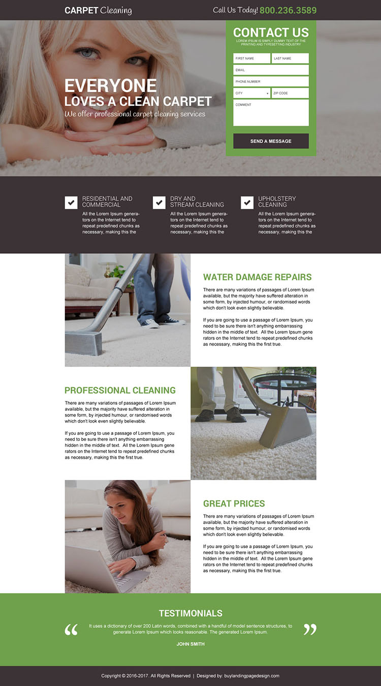 carpet cleaning service free quote landing page design
