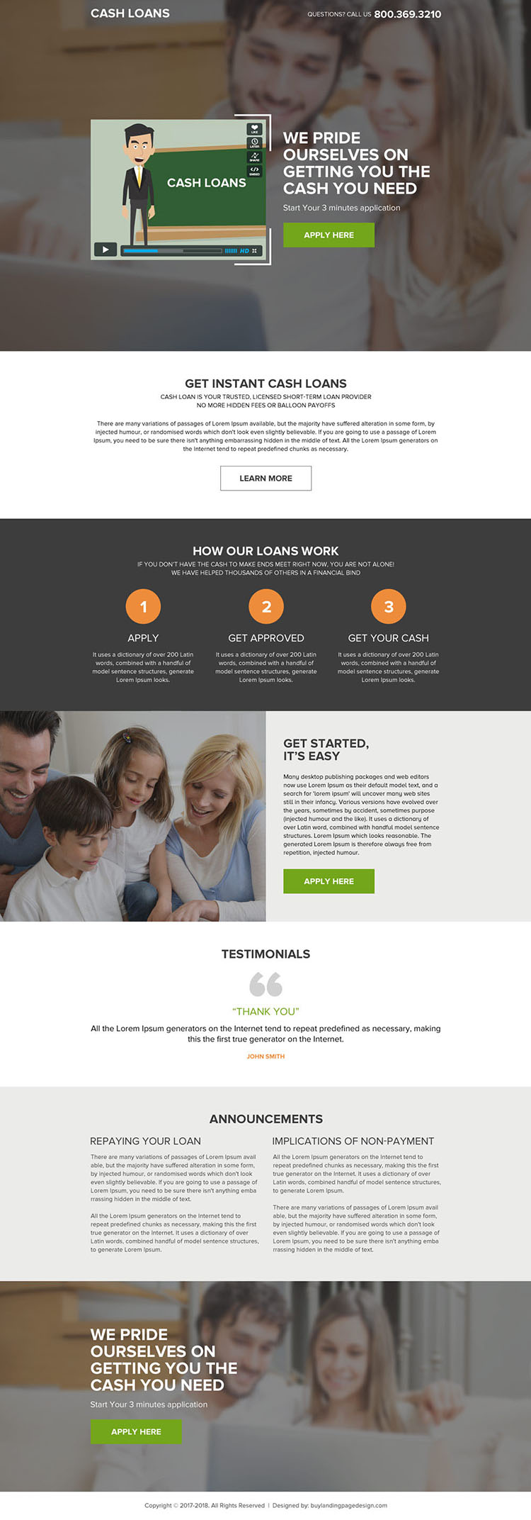 instant cash loan video landing page design