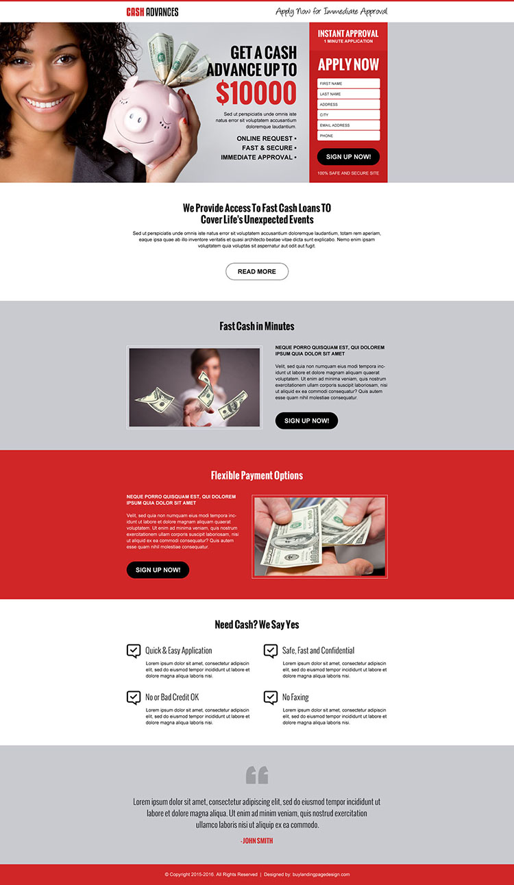 cash loan in advance lead generating landing page design template