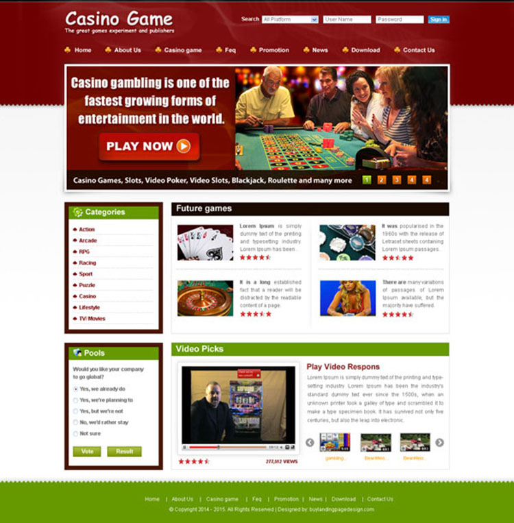 casino game website template design psd for your website