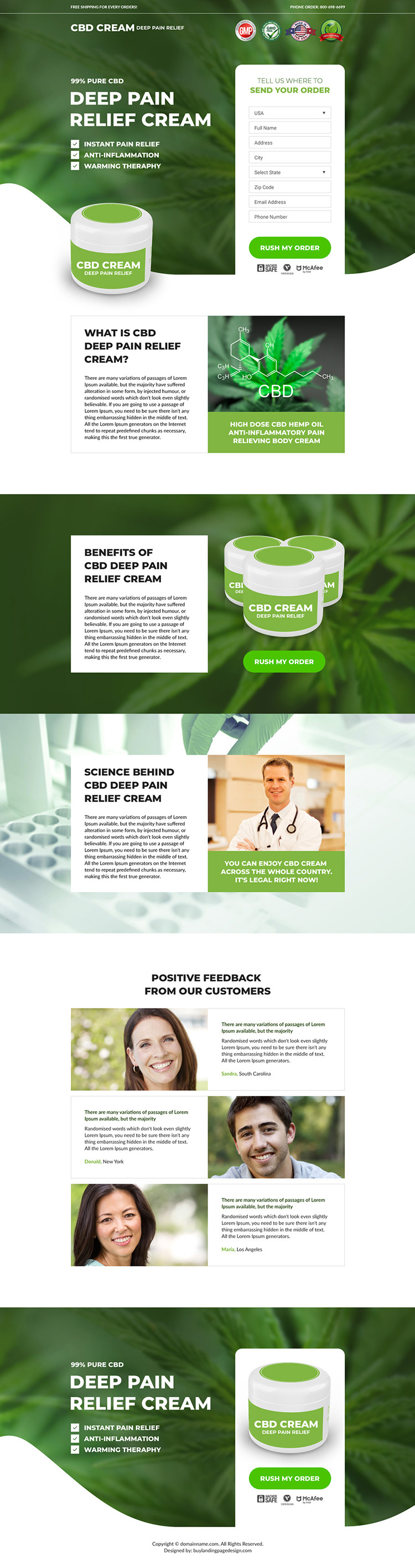 CBD pain relief cream selling responsive landing page design