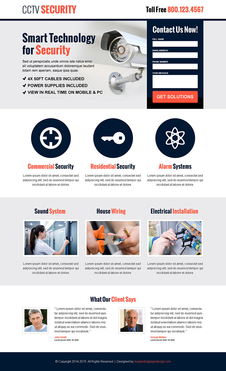 cctv security lead capture responsive landing page design template