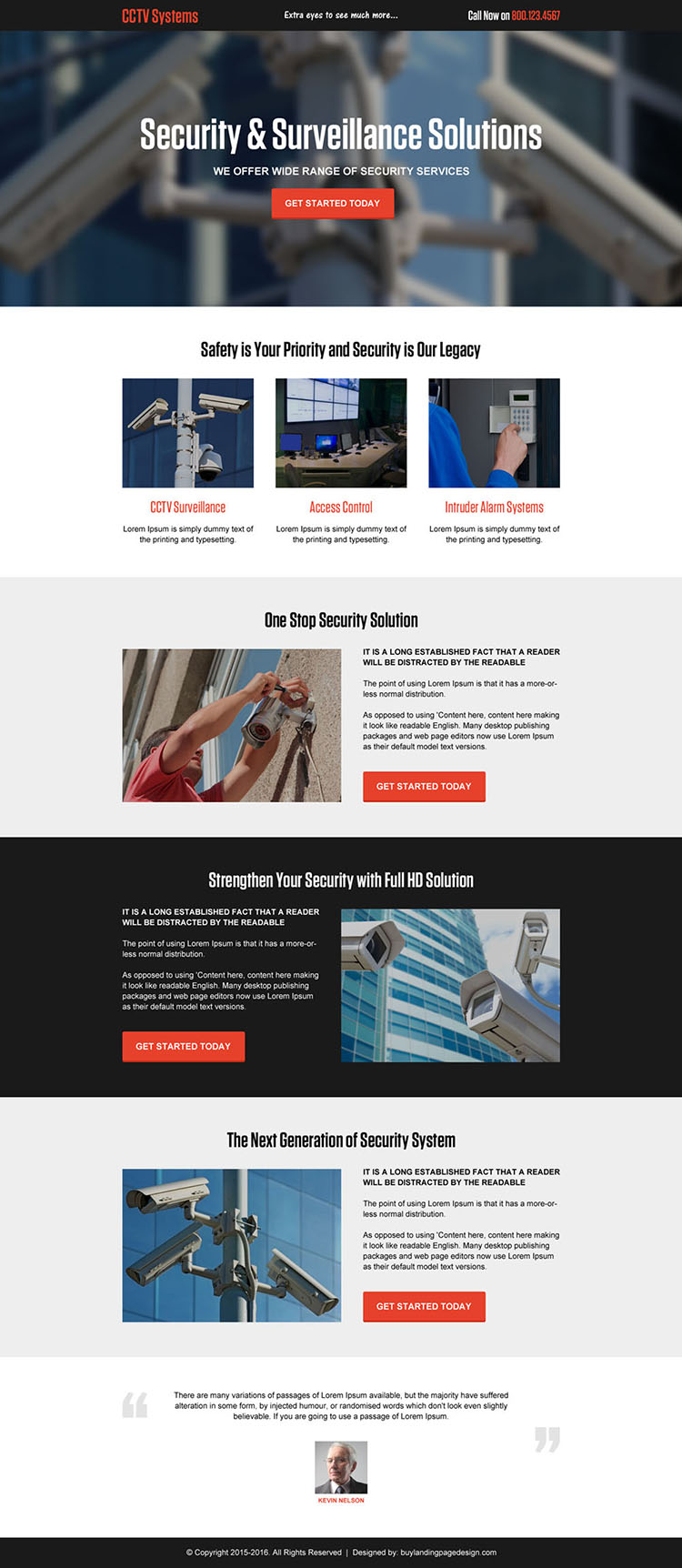 cctv security system solution responsive landing page design