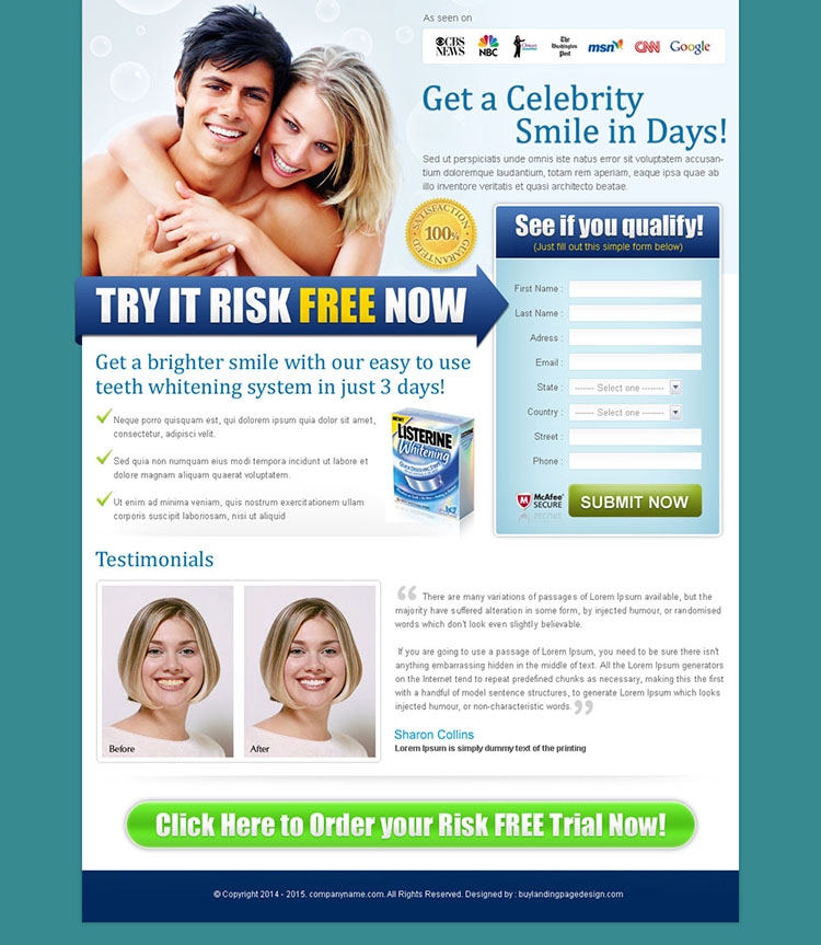 celebrity smile lead capture teeth whitening lander design