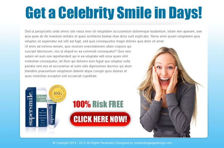 get a celebrity smile attractive ppv landing page design