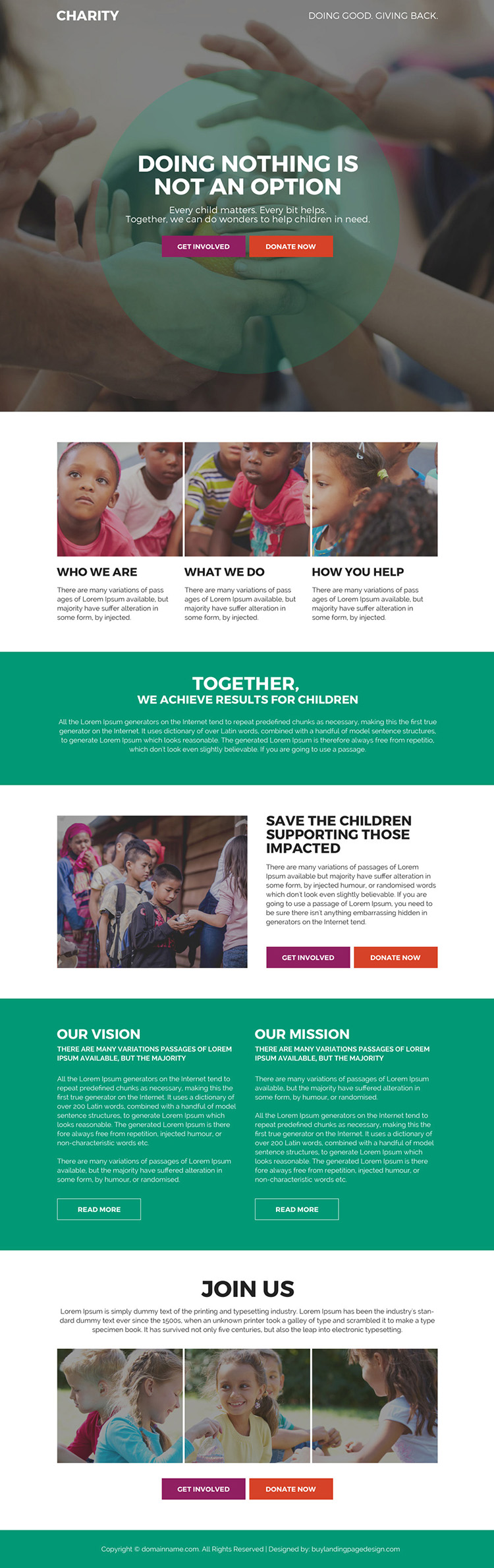 charity and donation bootstrap landing page