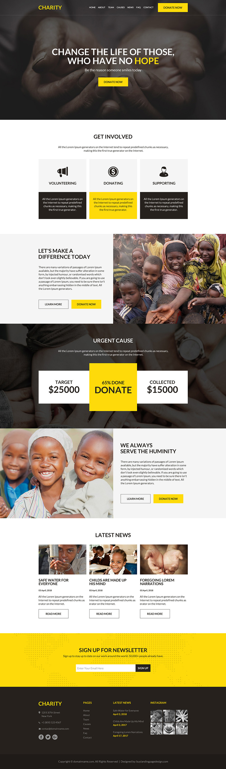 charity and donation responsive website design