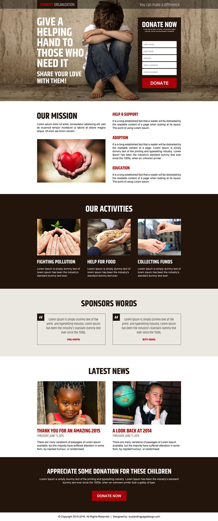 charity organization responsive online donation lead capture landing page