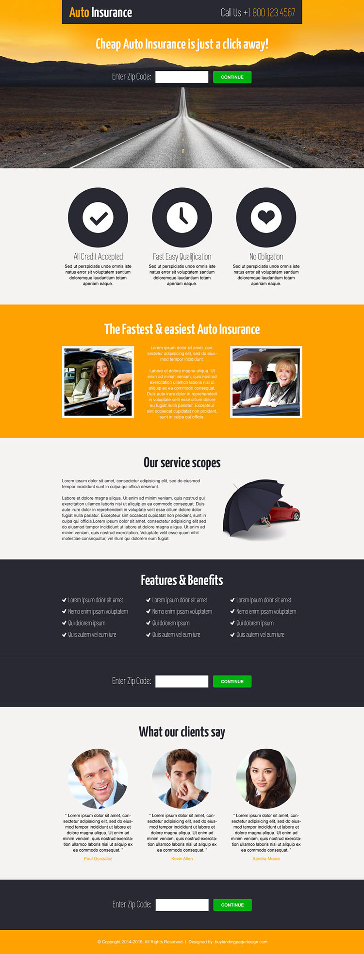cheap auto insurance informative and professional landing page design template
