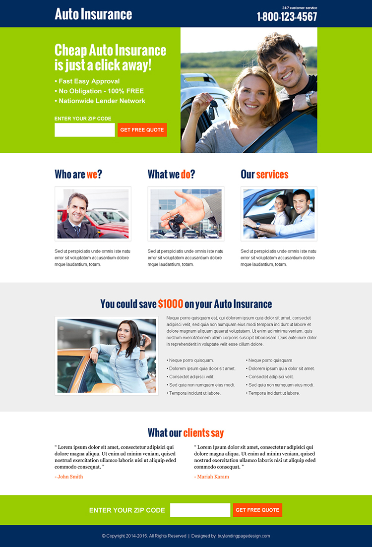 Cheap auto insurance lead capture lp33 auto insurance for Free lead capture page templates
