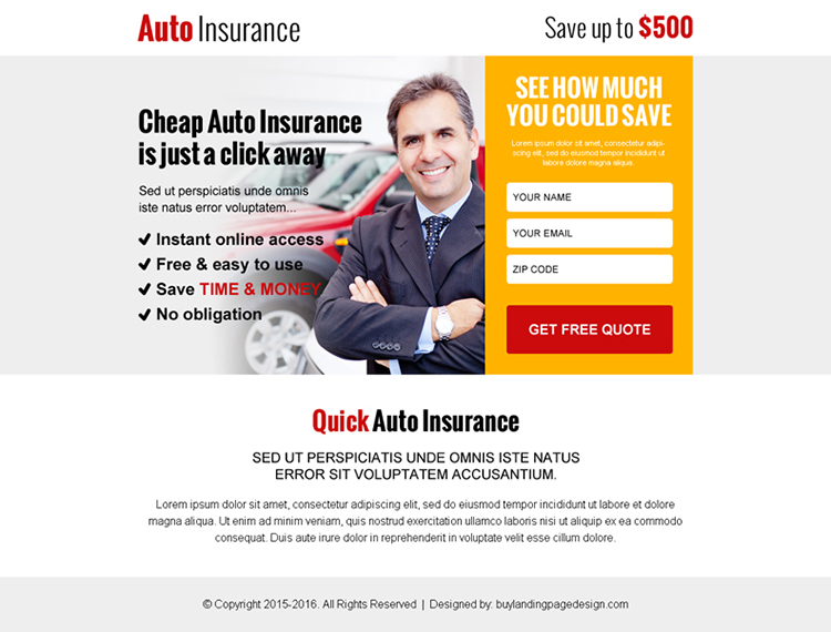 cheap auto insurance leads ppv landing page