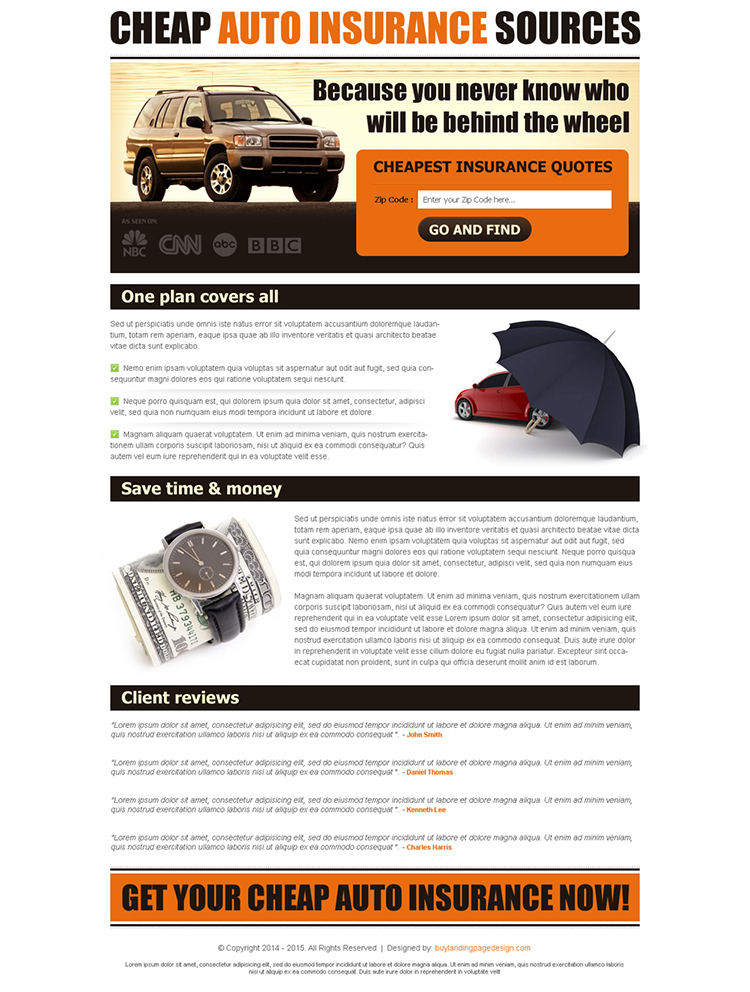 cheapest auto insurance quotes lead capture user friendly and clean landing page design template