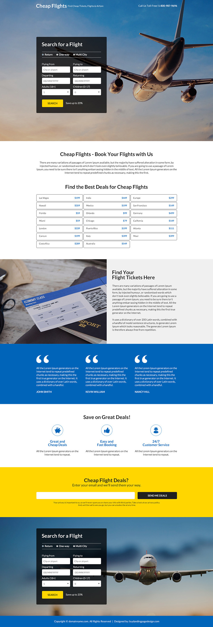 best deals for flight booking responsive landing page