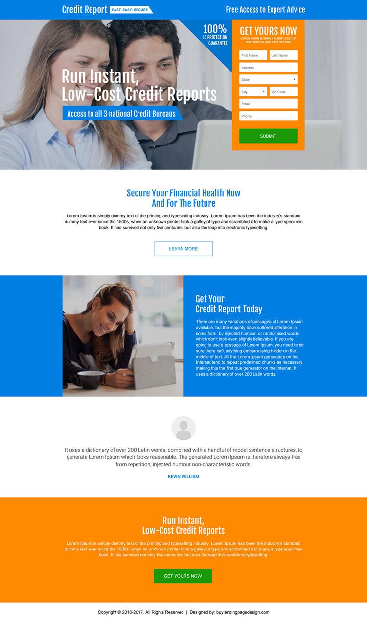 credit report lead gen modern landing page design