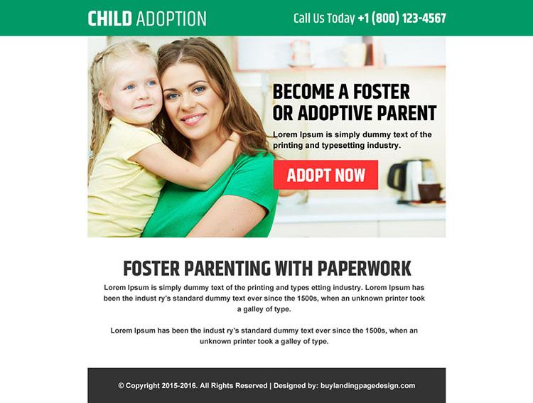 child adoption agencies ppv landing page design