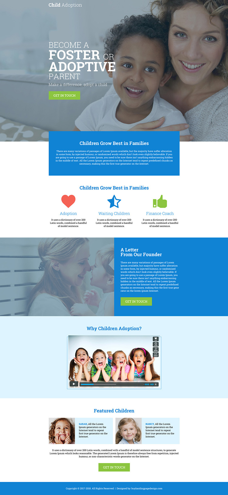 child adoption agency clean and informative landing page