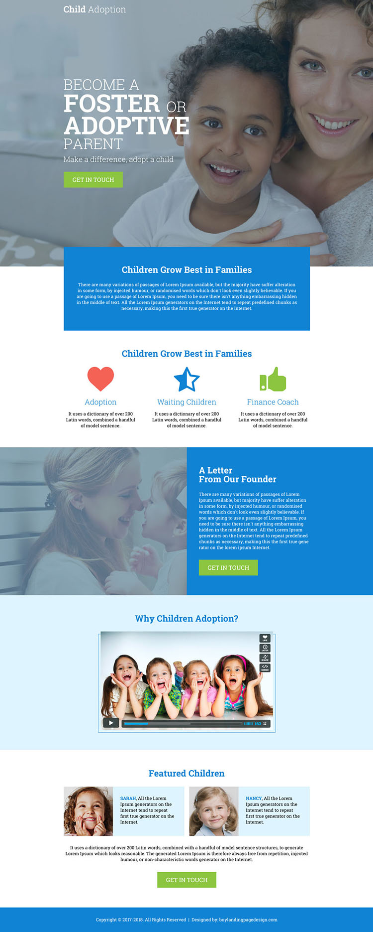 child adoption agency responsive landing page