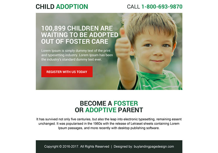 child adoption ppv landing page design for capturing quality leads