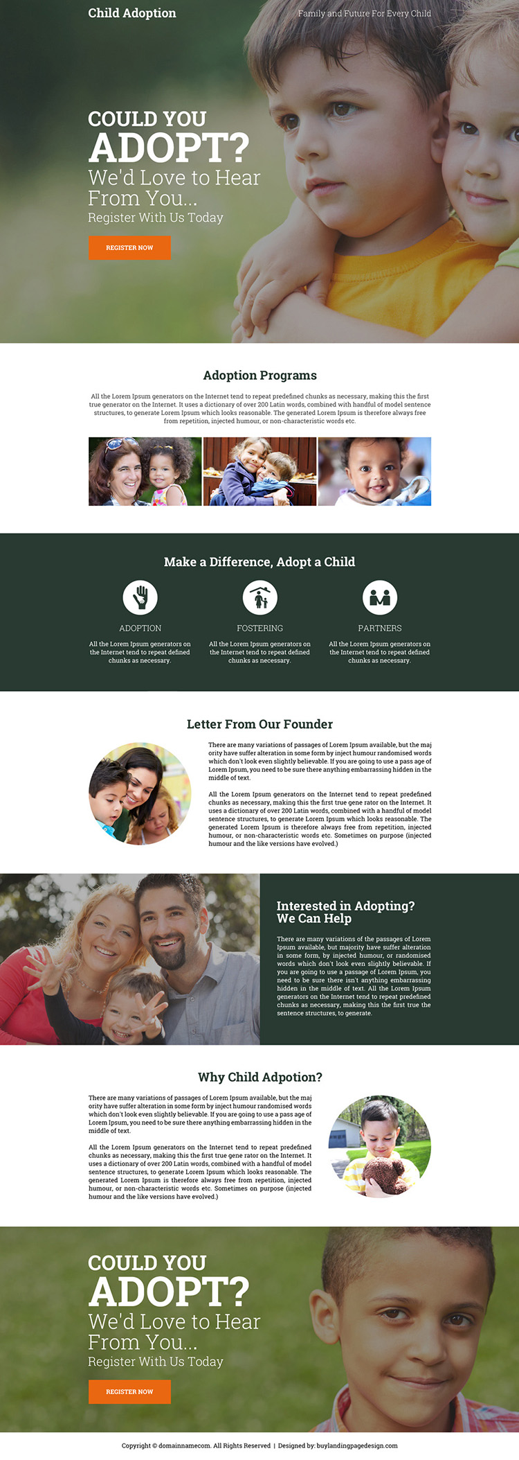 child adoption center call to action landing page design