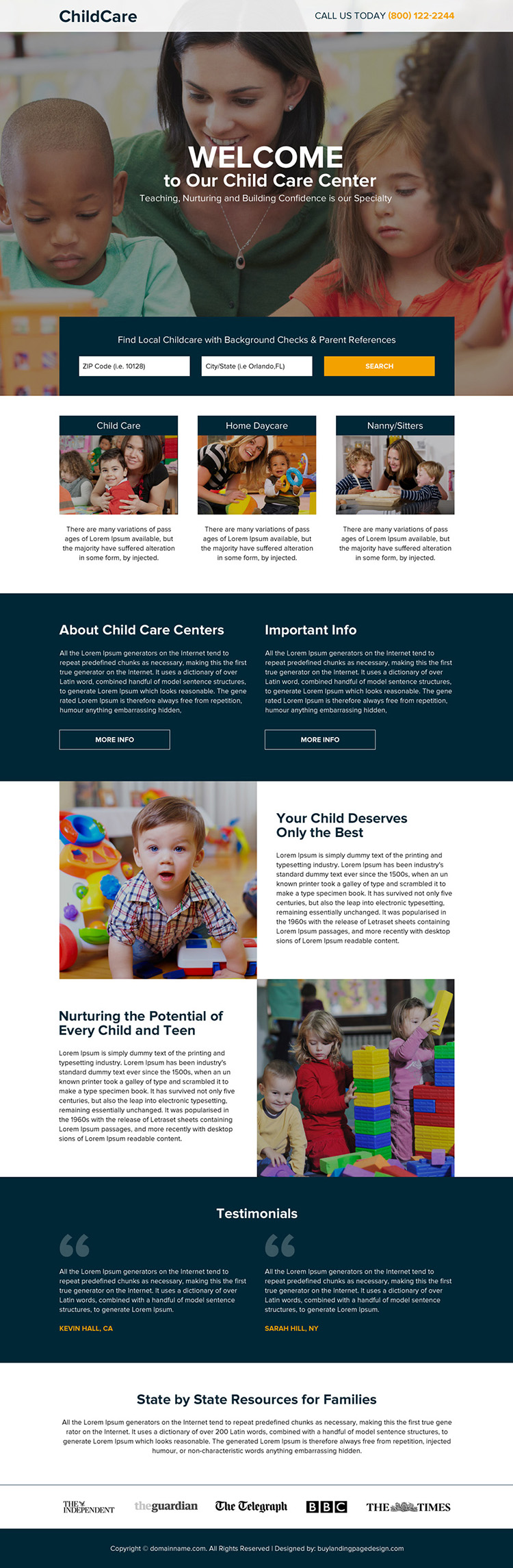 child care center lead generating responsive landing page