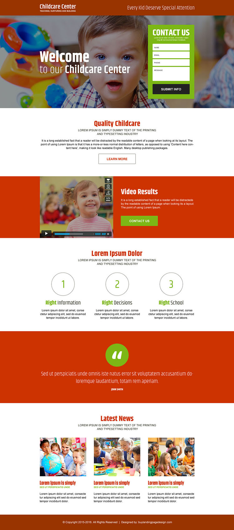 child care center converting responsive landing page design