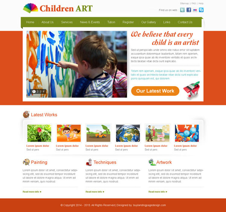 appealing and effective children art website template psd design