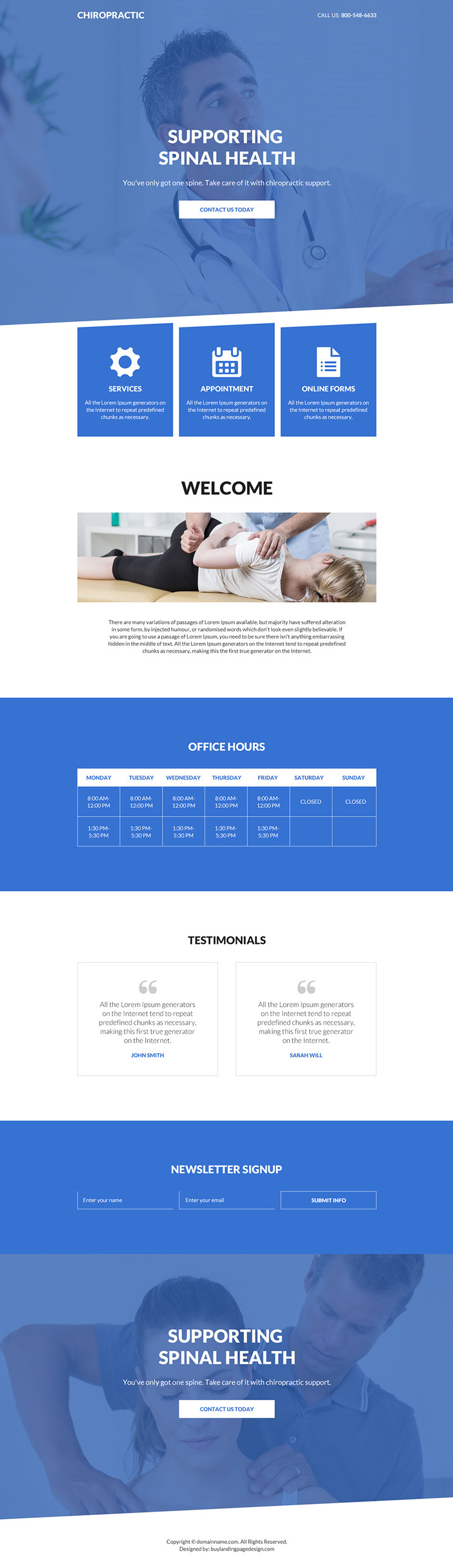 chiropractic care and support bootstrap landing page
