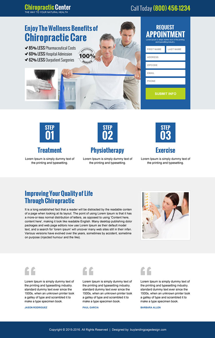 chiropractic care center appointment landing page design