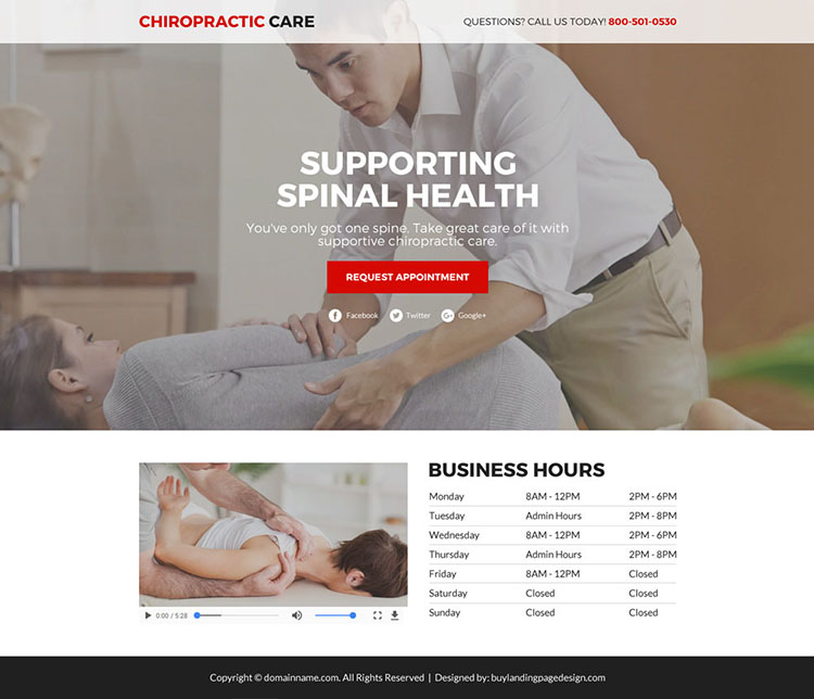 chiropractic care service responsive funnel landing page