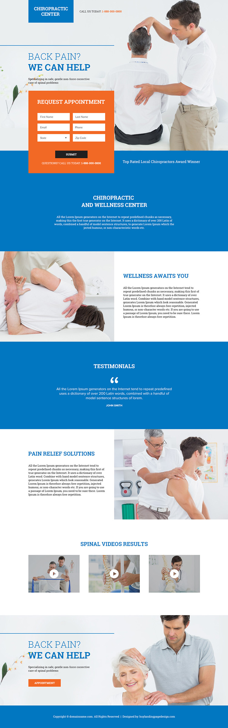 local chiropractors appointment booking responsive landing page