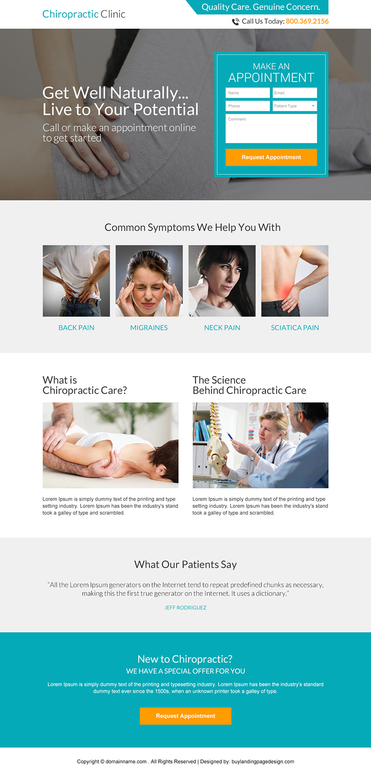 chiropractic clinic appointment responsive landing page