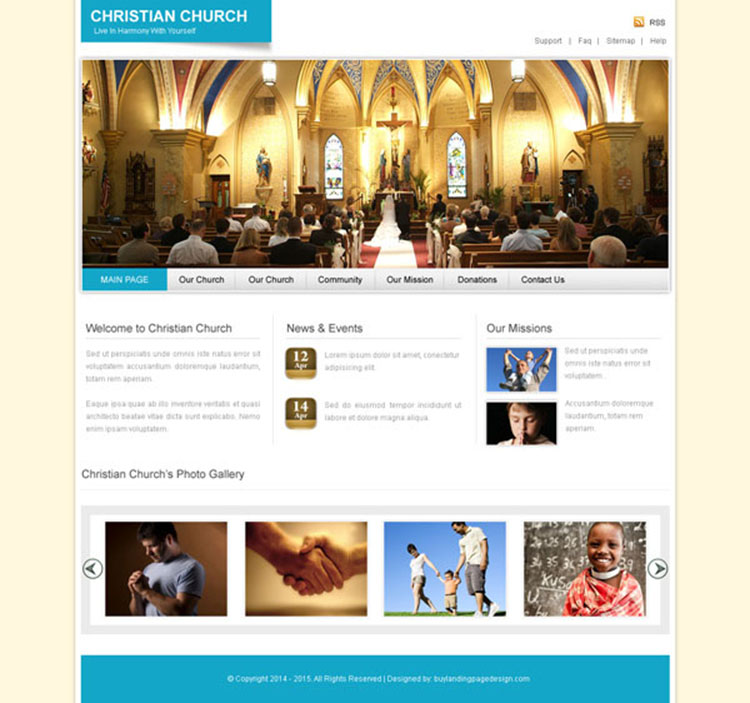 christian church clean and converting website template design psd to create your website