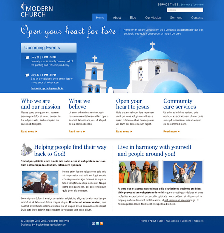 clean modern church website template psd for sale