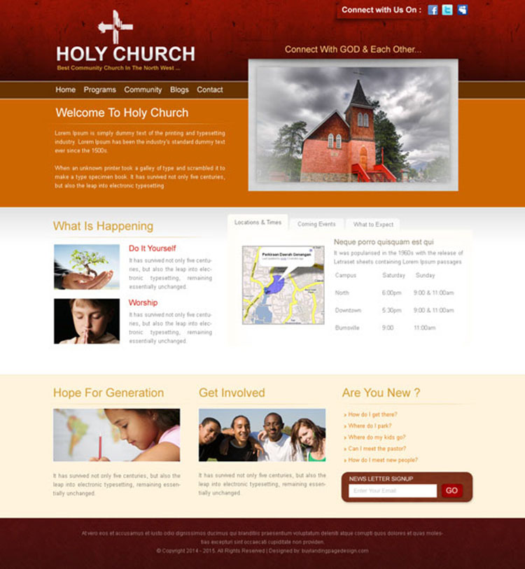 best community church clean and attractive website template design psd