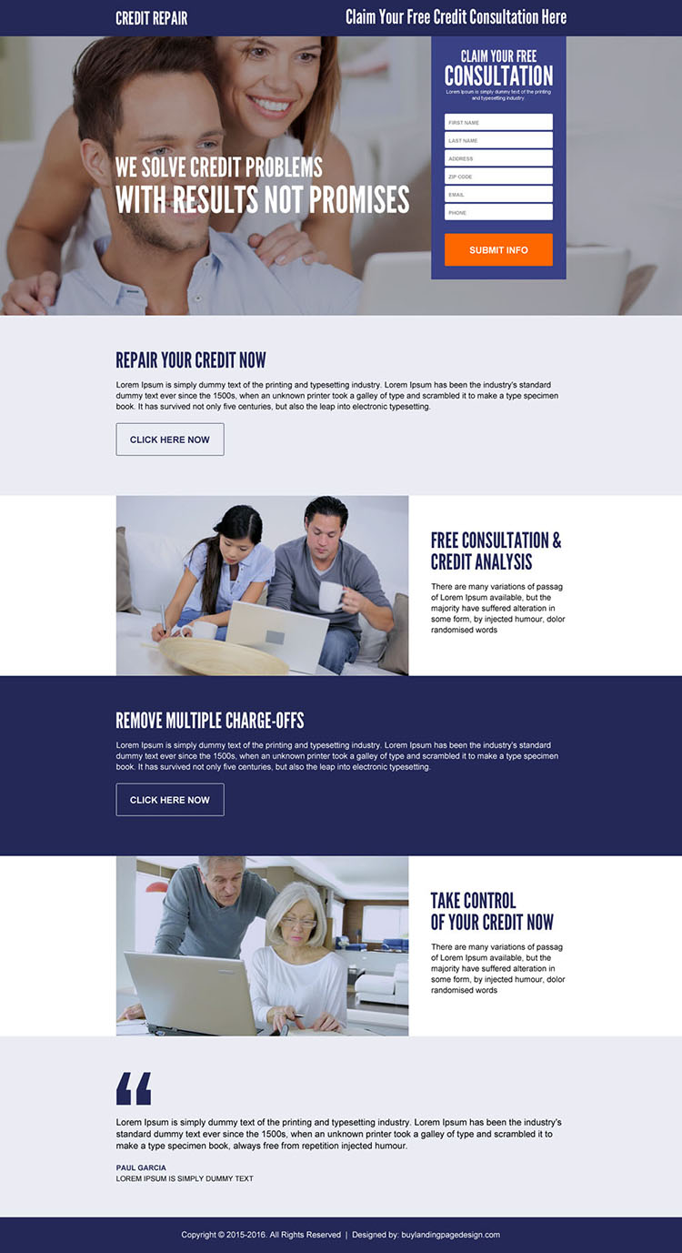claim your free credit repair consultation responsive lead gen landing page design