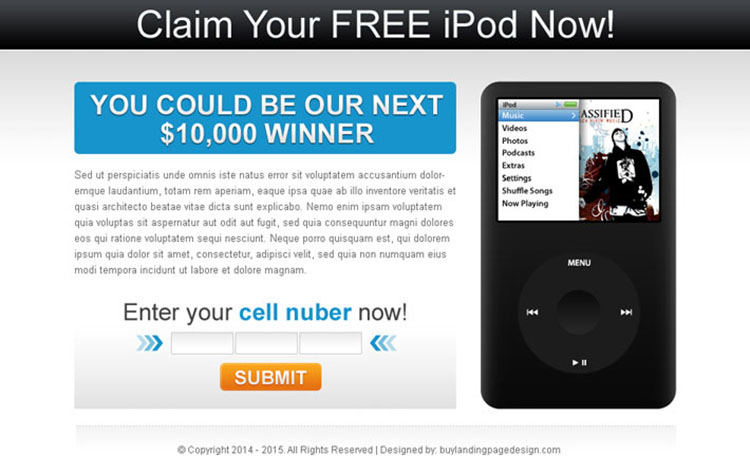 claim your free i-pod most converting ppv landing page design