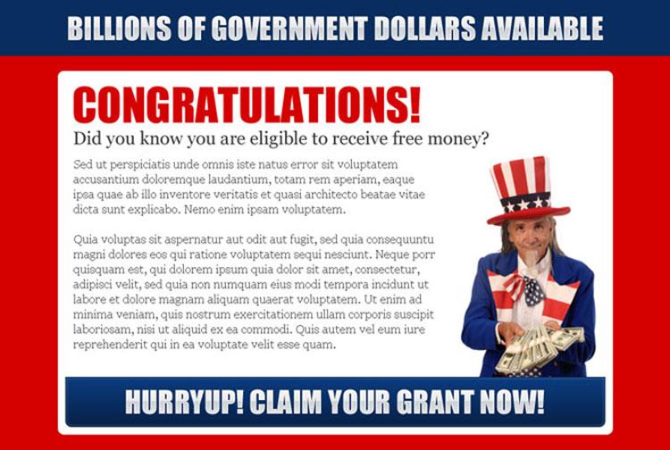 claim your government grant now converting ppv landing page design