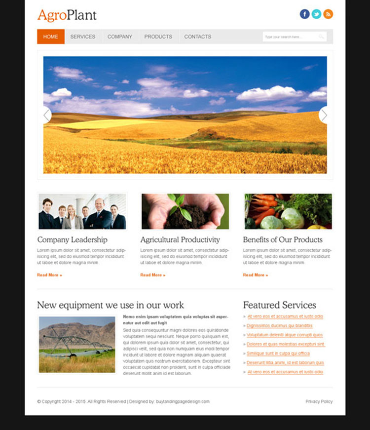 clean and effective agro company website template