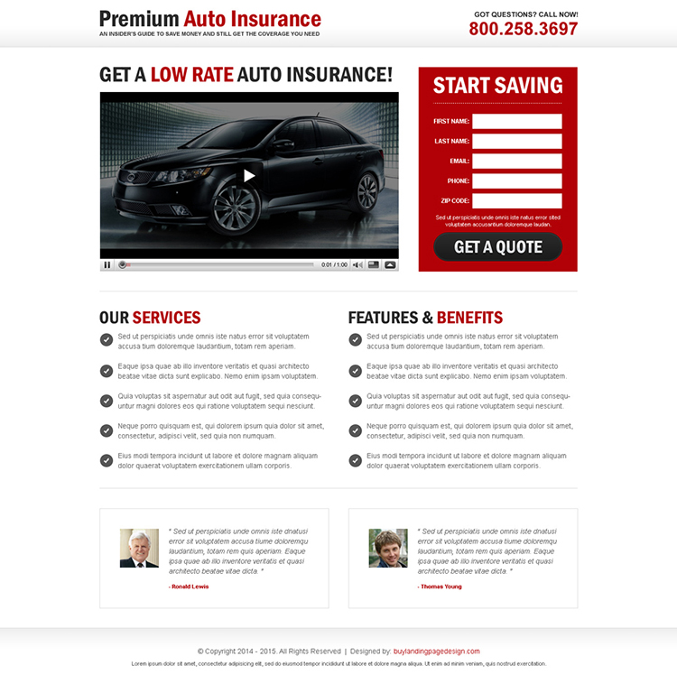 premium auto insurance lead capture video landing page design