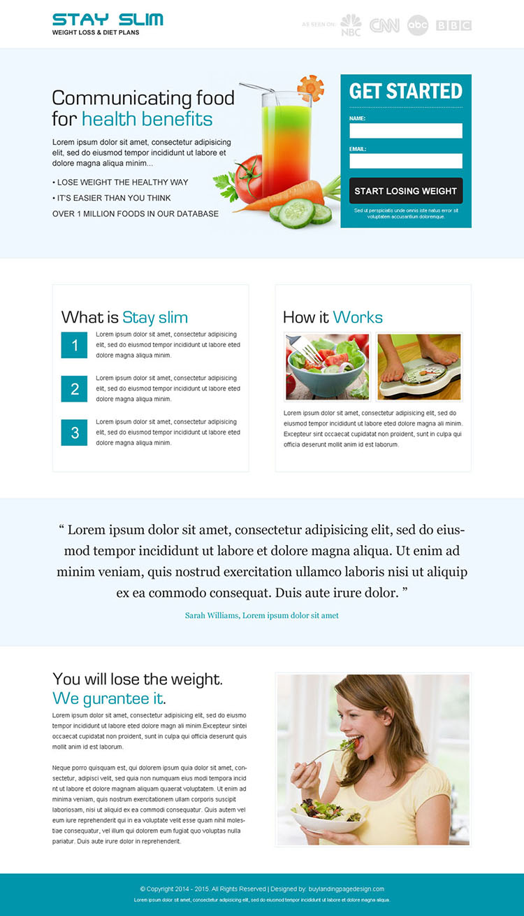 weight loss diet plan clean and minimal looking landing page design