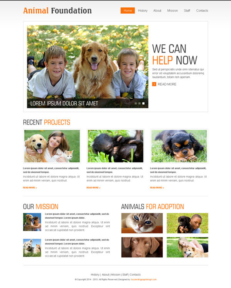 animal foundation website template psd