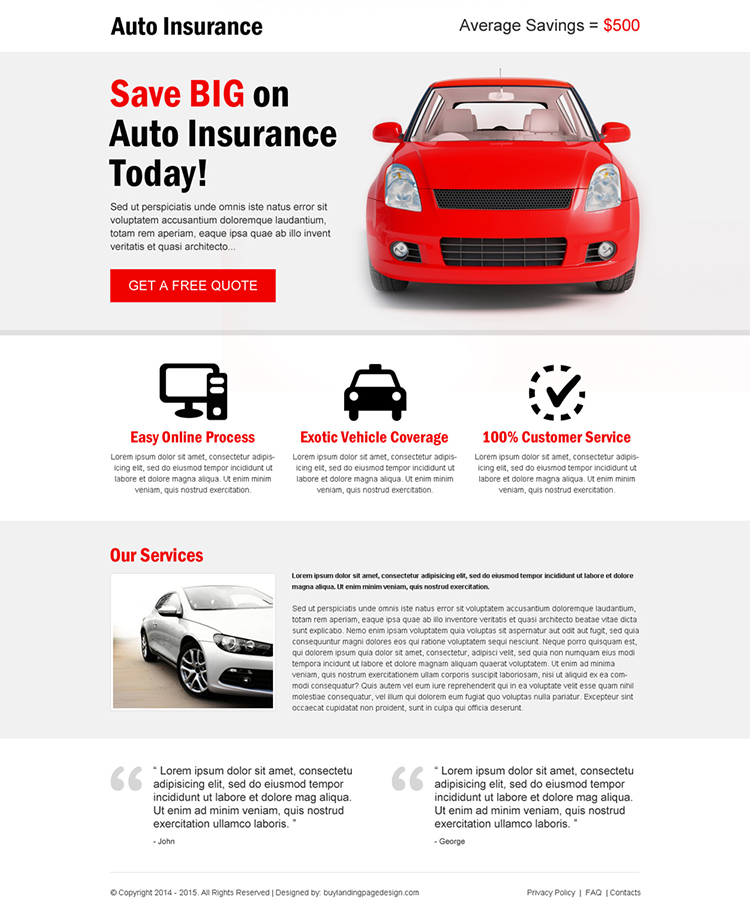 minimal looking effective and appealing auto insurance landing page template