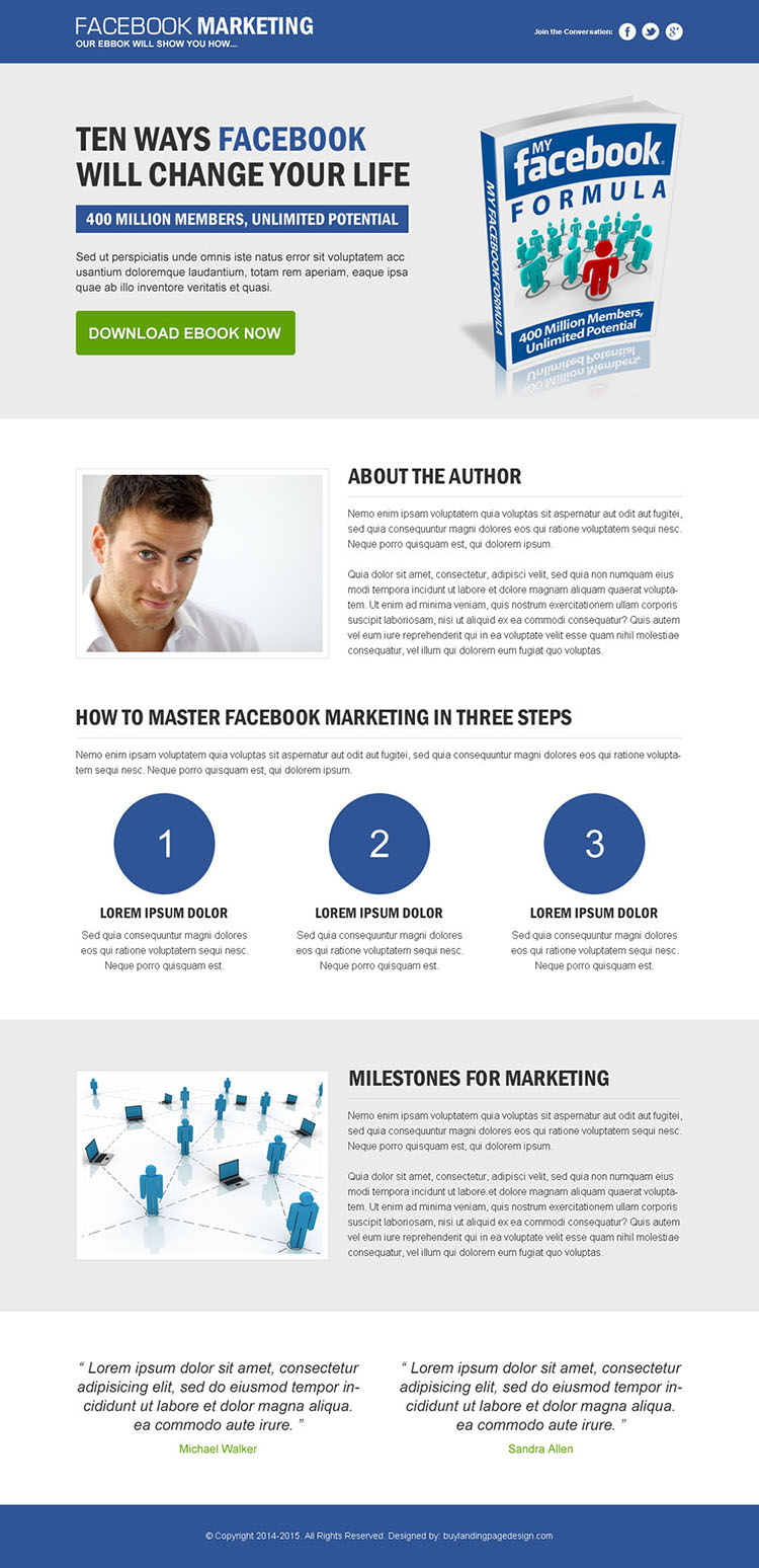 clean and converting landing page design for facebook marketing