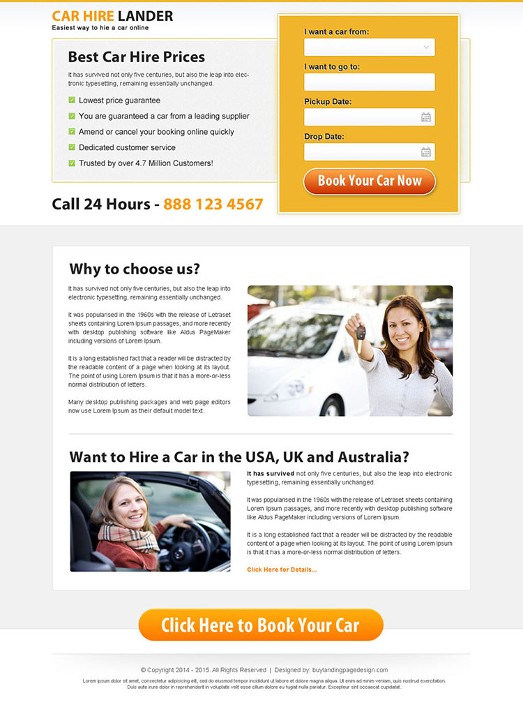 minimal looking car hire lead capture landing page design