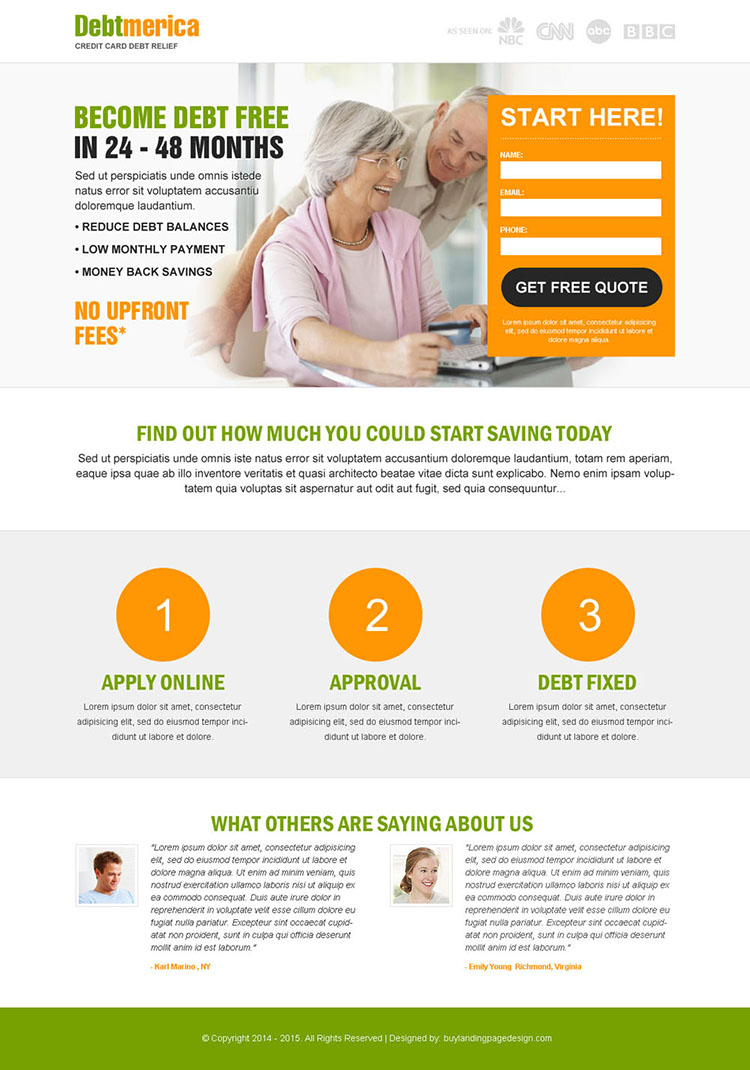 get credit card debt relief and start savings lead capture squeeze page