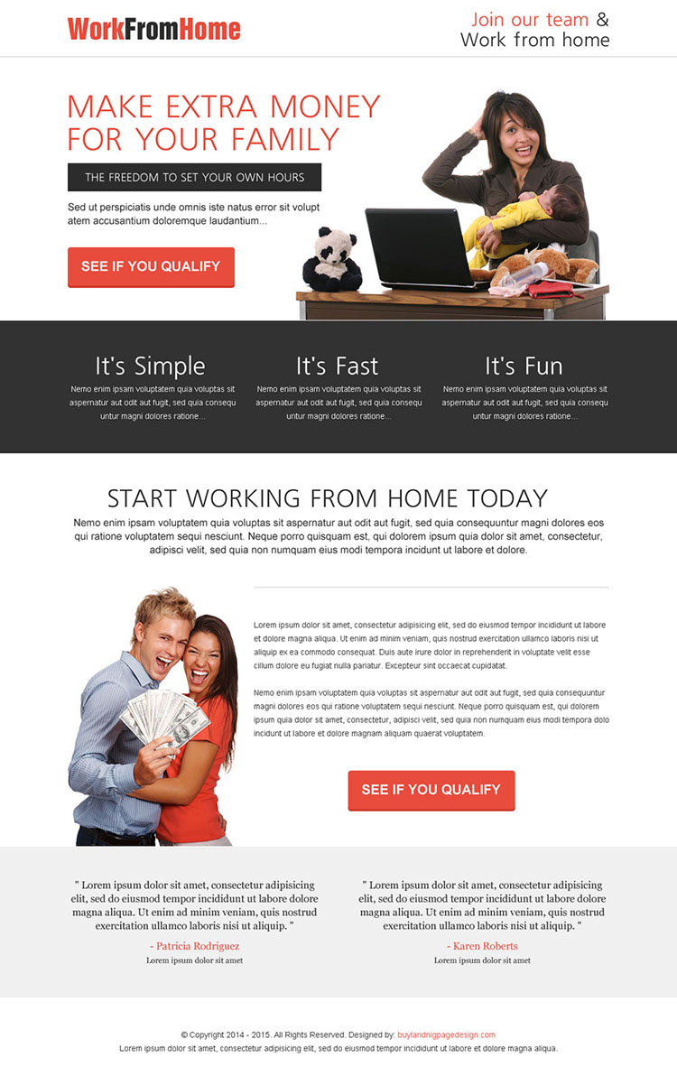 make extra money for your family from the comfort of your home call to action lead capturing landing page design template