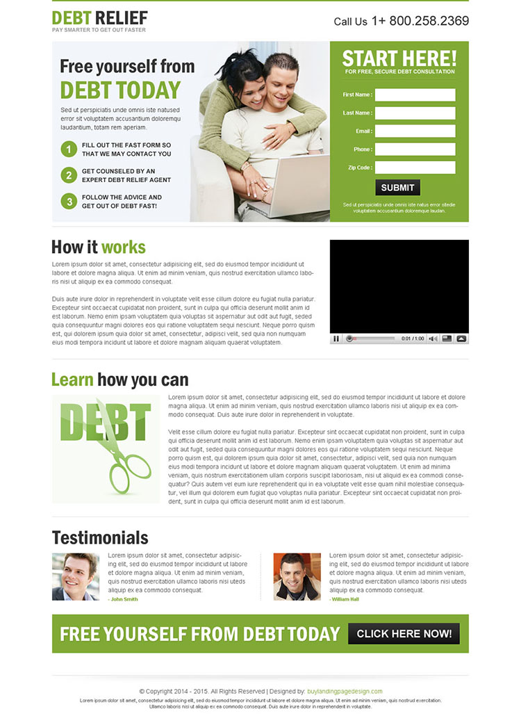 clean converting debt relief responsive lead capture landing page design templates